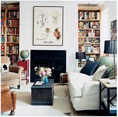 book cases and white walls