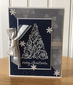 Stampin Up handmade Christmas card - Elegent White tree with snowflakes