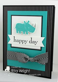 handmade greeting card ... black, white and turquoise ... luv this color combo! ... based on a Mojo Monday sketch with variations ... stamped, die cut and popped up hippo ... large sentiment on fishtail banner ... chevron ribbon ... awesome card!! ... Stampin' Up!