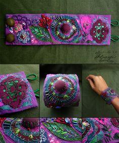 Textilarmband  textile bracelet   Textilarmband   #Textilarmband Fiber Art Jewelry, Textile Jewelry, Fabric Jewelry, Jewelry Art, Jewellery, Fabric Bracelets, Handmade Bracelets, Cuff Bracelets, Fabric Beads
