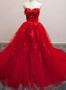 May 2020 - Gorgeous Red Quinceanera Dress, Tulle Ball Gown, Red Formal Gowns – BeMyBridesmaid Red Ball Gowns, Tulle Ball Gown, Tulle Dress, Ball Dresses, Chiffon Dress, Evening Dresses, Short Dresses, Wedding Dresses With Flowers, Wedding Dresses 2018