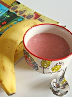 Make some 3 ingredient Strawberry Cheesecake Banana Ice Cream with your kids inspired by an ABC Book! B-InspiredMama.com