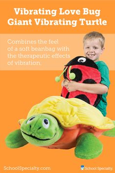 The Sensation Products Giant Vibrating Turtle or Love Bug is a soft, plush toy with an adorable face with bright colors. The vibrations are calming and soothing to children.
