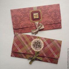 """Купить Конверт """"RED"""" (2 Вида!) - бордовый, Конверт для денег, конверт, конверт ручной работы"""