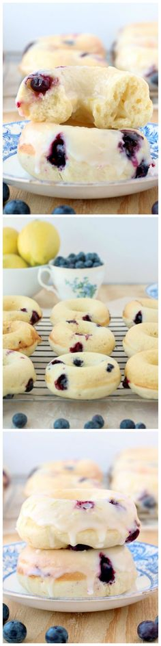 Baked Lemon Blueberry Doughnuts #brunch
