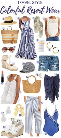 Travel Style: Colorful Resort Wear - Travel Style: Colorful Resort Wear If you are planning a summer trip or just need some new, cute things to celebrate summer and days at the pool or beach, you're in the right place! Vacation Outfits, Summer Outfits, Beach Vacation Clothes, Travel Outfits, Summer Clothes, Vacation Spots, Capsule Wardrobe, Estilo Resort, London Travel Guide