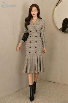 Đầm Thiết Kế Sơ Mi Đuôi Cá Cổ Vest - F1020DTK - Ảnh 1 Outfits Casual, Modest Outfits, Classy Outfits, Dress Outfits, Fashion Dresses, Stylish Dresses, Simple Dresses, Elegant Dresses, Casual Dresses