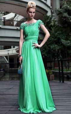 New Off-the-shoulder Chiffon Green Bridemaid cocktail Long evening dress merpherl.com
