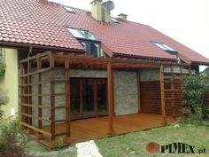 konstrukcja lepiej kompnuje sie z modernistyczna bryla naszego domu, fajne nawiązanie do kolorystyki stolarki okiennej...
