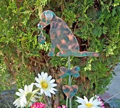 Labrador Retriever Dog Garden Stake / Metal Garden Art / Garden Copper Art / Labrador Retriever Sculpture / Pet Memorial  / Garden Marker by GardenCopperArt on Etsy