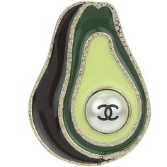 Pre-owned Chanel 17C Green Enamel Avocado CC Brooch ($600) ❤ liked on Polyvore featuring jewelry, brooches, chanel jewelry, pin brooch, green jewelry, pre owned jewelry and preowned jewelry