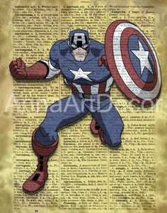 Captain America Print/The Avengers Poster/The Avengers Vintage Wall Art/Retro Poster/Book Page/Dictionary Page Print/Quote Poster Quote Posters, Quote Prints, Wall Prints, Book Page Art, Book Pages, Captain America Poster, Avengers Poster, Vintage Wall Art, Character Portraits