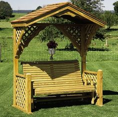Available in 2 sizes Select grade, micropressure treated, kiln-dried yellow pine Hand-selected lumber for maximum structural strength and beauty Air-dried for five to six months to eliminate shrinkage Each product is hand-crafted Pergola Garden, Pergola Swing, Outdoor Pergola, Pergola Shade, Pergola Plans, Pergola Patio, Backyard Landscaping, Outdoor Spaces, Gazebo