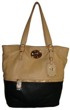 Women's Large Emma Fox Genuine Leather Tote Handbag (Black/Yellowish Tan) Emma Fox, http://www.amazon.com/dp/B0094G6ZAK/ref=cm_sw_r_pi_dp_C7CCqb1MMPY3E