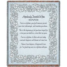 Hopelessly Devoted To You Art Tapestry Throw, Silver Anniversary