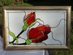 Tiffany Stained Glass Panel  Rose por ArtesanaPL en Etsy