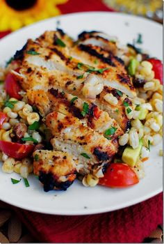 Grilled Marinated Chicken with Corn Salad Recipe