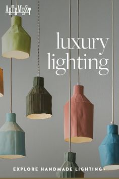 Luxury Lighting - Discover Stylish, Handmade Chandeliers, Table Lamps and Sconces. Handmade Chandelier, Handmade Lamps, Pottery Pots, Luxury Lighting, Restaurant Design, Interior Design Living Room, Decoration, Light Fixtures, Lights