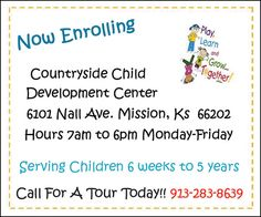 Countryside Child Development Center is now enrolling!! Call today to enroll your child, or to get a tour today! Funland Moonjump has so many different inflatables to choose from as well as many other activities!! Call today to book your next party!  // For more family resources visit www.ifamilykc.com! :)