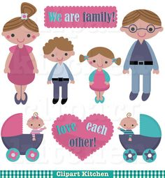 Happy Family Clipart Set - Personal and Commercial Use - Family Clip Art - Family Scrapbooking - Family Memories - Family Photo Album