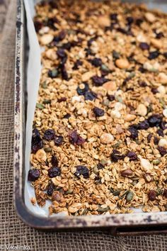 Black Forest Granola-oats, hazelnuts, dried cherries and of course, CHOCOLATE. #granola #blackforest