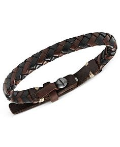 Fossil Men's Bracelet, Silver-Tone Brown and Black Braided Leather Snap Bracelet - Fashion Jewelry - Jewelry & Watches - Macy's