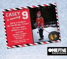 Chicago Blackhawks Hockey Birthday Invitation by OneFiveDesigns