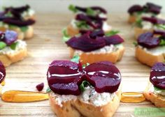 beet and goat cheese crostinis with raw honey