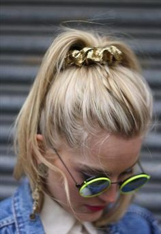 Neon rim sunnies. Noticed the 1990s Gold Scrunchie :)
