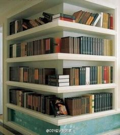 Embedded in a wall in the corner, made bookcase or storage place, beautiful and practical ~