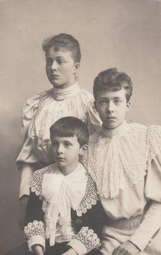 Duchess Sophie, Duchess Elisabeth and Duke Ludwig Wilhelm, children of Duke Carl Theodor of Bavaria. (Early 1890s)
