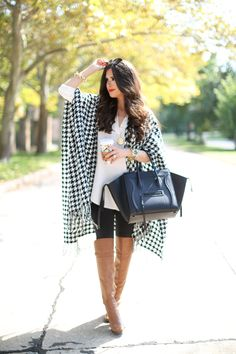 HOUNDSTOOTH PONCHO   PONCHO: Capelli of New York (similar styles HERE & HERE) | TUNIC: Lush (wearing XS) | LEGGINGS: Zella | BOOTS: old (similar HERE & HERE) | BAG: Celine (similar style) | WATCH: Michael Kors (obsessed!) | SUNGLASSES: Prada | BRACELETS: Rustic Cuff, David Yurman | NECKLACE: House of Harlow | RING:BaubleBar | LIPS: #2   Fashion By The Sweetest Thing