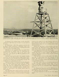 """The Ohio Alumnus, November 1963. """"Construction of Ohio's radar tower, atop """"Radar Hill"""" overlooking the campus and the City of Athens, is expected to be completed and in operation early this month. In the background can be seen a portion of the building that will house the generating equipment."""" :: Ohio University Archives"""