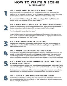 Novel Writing Tips - How to write a scene