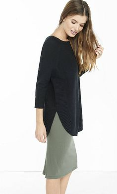 Black Boucle Extreme Circle Hem Tunic Sweater from EXPRESS
