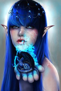 born in blue flame by =RomanticFae on deviantART