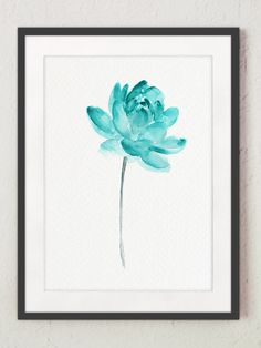 Lotus Flower Teal Watercolor Painting, Abstract Flower Poster, Lotus Art Print, Water Flowers Blue Wall Decor, Floral Artwork by ColorWatercolor on Etsy