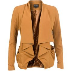 MBYM Blazer Canny Curry: Stylish, curry colored blazer with waterfall front and pockets at the sides. Style tip: Pair up with a jumpsuit with distinct, graphic print. Beige Black