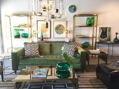 There's a whole lotta green going on here which works perfectly with neutral colours. Neutral Colors, Green Colors, Colours, High Point Market, Green Home Decor, Shades Of Green, Natural Wood, Cozy, Interior Design