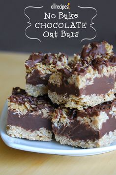 "No Bake Chocolate Oat Bars | ""This was yummy. However, I would suggest doubling the amount of ingredients to make the bars thicker."""