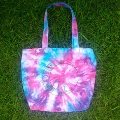 Moon Bunny Tie Dye Bag 100% Organic Cotton Eco Friendly Screen Printed Pink Purple Blue Moon Phase Lunar Planets Space Celestial Galaxy