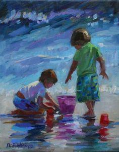 BOYS AT BEACH PLAY, painting by artist Elizabeth Blaylock