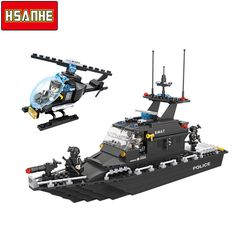 HSANHE Building Block Brick SWAT Escort Boat Helicopter DIY Model Compatible With Legoe City Boy Toy Christmas Gift Toys For Kid