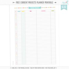 plannerfreebies FREE Printable Project Planner & Current Projects planner pages – now in all 5 si…