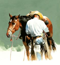 Next the Bridle home page by Don Weller in the FASO Daily Art Show Cowboy Art, Cowboy Horse, Watercolor Artists, Artist Painting, Watercolour Illustration, Watercolor Pictures, Art Room Posters, Horse Drawings, Southwest Art