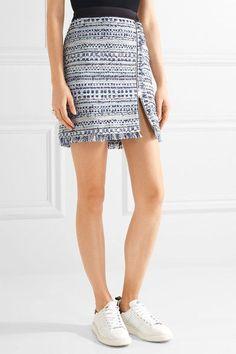 Karl Lagerfeld - Satin-trimmed Fringed Metallic Tweed Mini Skirt - Blue - IT40