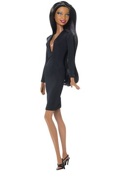 Model No. 10 — Collection 001 ~~ The little black dress just met its match — Barbie®! Sleek and sophisticated, each Barbie Basics™ doll wears a stylish little black dress, and features a beloved Barbie face sculpt.  Model No. 10 features the Desiree face sculpt, African American skin tone, a striking black dress with plunging neckline, and long sleek hair.