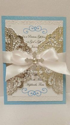 Boy Baptism Invitations Set of 12 with Cross