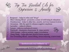 Top ten EOs for depression and anxiety.