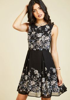 Your style has been described in many fabulous ways - classic, timeless, oh-so-elegant - and this floral dress offers posh proof! A pale pink and blue rose pattern borders this pleated, black frock - a ModCloth exclusive - providing a stunning testament to your awe-inspiring sophistication.